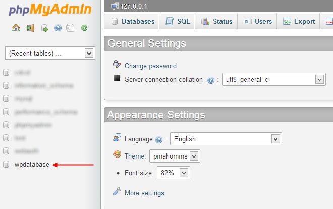 Select-WordPress-database-from-phpMyAdmin