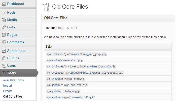 Old-Core-Files-Interface