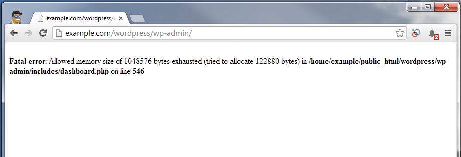 wordpress-dashboard-showing-memory-error