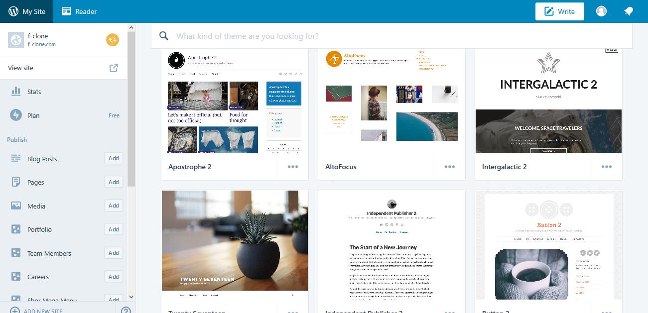 WordPress Themes ‹ f clone — WordPress.com