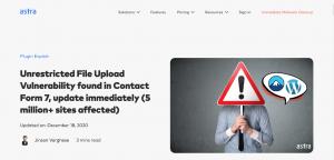 [緊急・対処方法] Contact Form 7 v5.3.1以下にファイルアップロードの脆弱性